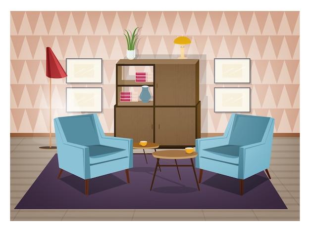 Interieur van woonkamer ingericht in retro stijl. ouderwetse meubels en huisdecoraties - fauteuils, tapijt, salontafel, dressoir, staande lamp, muurafbeeldingen. cartoon vector illustratie.