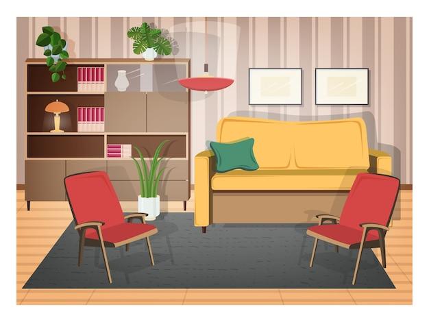 Interieur van woonkamer ingericht met retro meubels en ouderwetse huisdecoraties - gezellige bank, fauteuils, planken, kamerplanten, lamp, tapijt. illustratie in platte cartoon stijl.