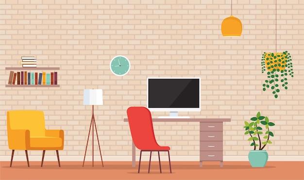 Interieur werkkamer, kantoor aan huis met computer. meubelzetel, computertafel, boekenplanken, verlichtingslamp, bloempotten met planten.
