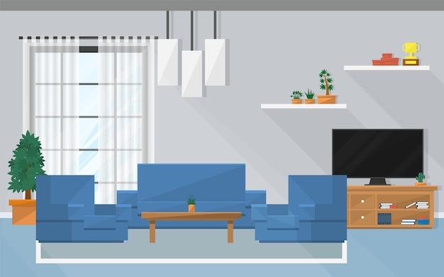 Interieur woonkamer met meubels en raam.