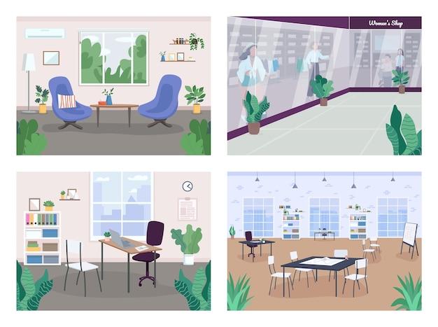 Interieurdecoratie egale kleur illustratie set