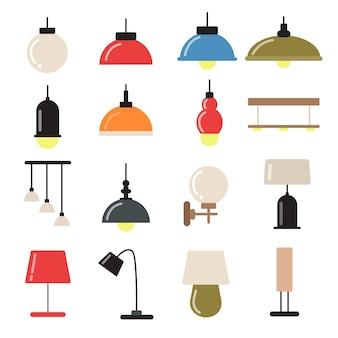 Interieurinrichting met moderne lampen en kroonluchters. vector symbolen van licht