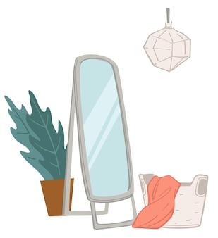 Interieurinrichting van kleedkamer met lange passpiegel en decoratieve kamerplant. mand met gebreide plaid of deken. moderne lamp op plafond. winkelcentrum of winkel, vector in flat