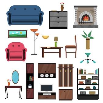 Interior icons flat set