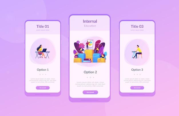 Intern onderwijs app interface sjabloon.