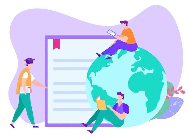 Internationaal afstandsonderwijs. afstand leren. e-learning. man met laptop