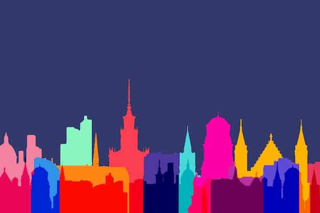 Internationaal beroemd gebouwen kleurrijk ontwerp