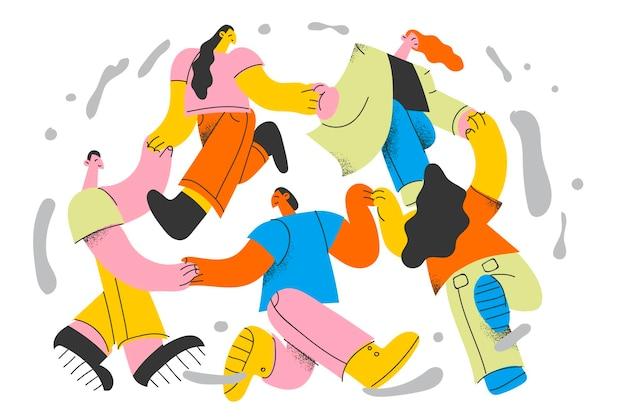 Internationaal concept van vriendschap en saamhorigheid