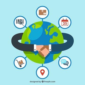 Internationaal handelsconcept met plat ontwerp