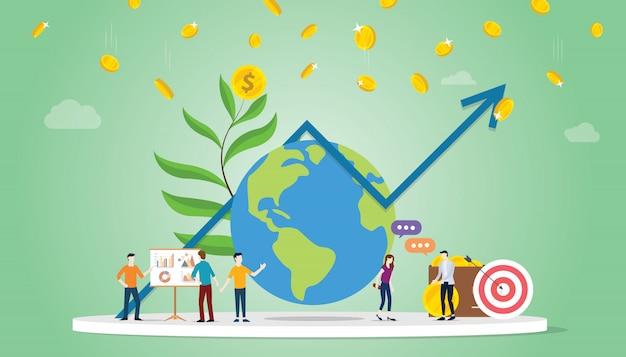 Internationaal investeringsconcept met grote bol en grafiekgrafiek en geld