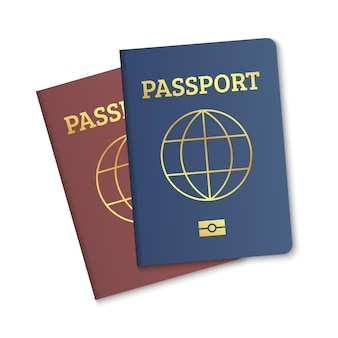 Internationaal paspoort omslag rood en blauw sjabloon biometrische burgerpaspoorten omslag met kaart