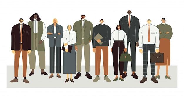 Internationaal zakelijk team. bedrijfsbureaus staan samen, professionele werknemers menigte en corporate mensen illustratie. de bediendenkarakters in bureau passen collectief portret