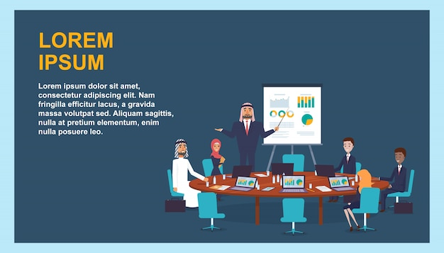 International business meeting company leadership.