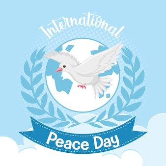 International peace day-logo of banner met een witte duif
