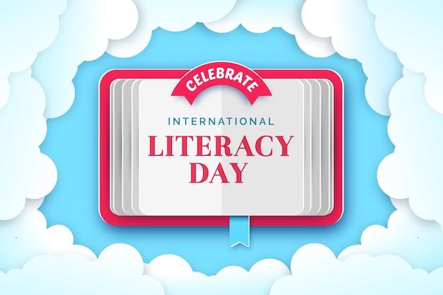 Internationale alfabetiseringsdag in papierstijl