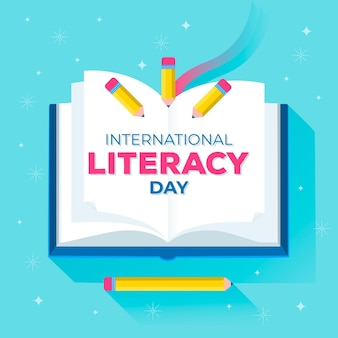 Internationale alfabetiseringsdag met boek en potloden