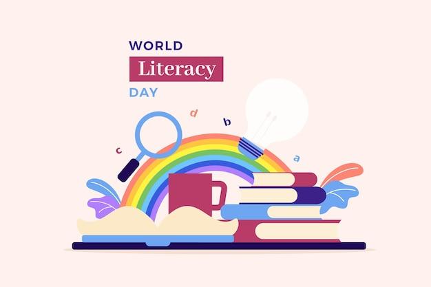 Internationale alfabetiseringsdag met boeken en regenboog
