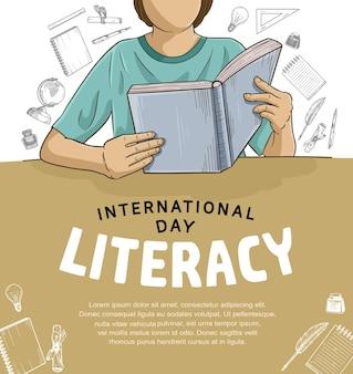 Internationale alfabetiseringsdag met kleurrijke man die boekillustratie leest op bruine en witte achtergrond
