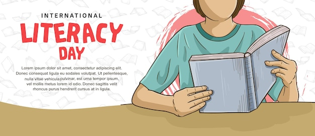 Internationale alfabetiseringsdag met kleurrijke man die boekillustratie leest op witte achtergrond