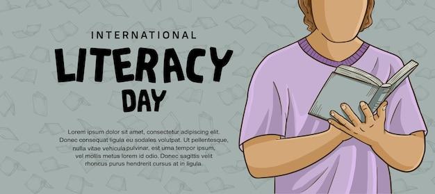 Internationale alfabetiseringsdag met kleurrijke man die boekillustratie leest