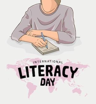 Internationale alfabetiseringsdag met kleurrijke man die illustratie en wereldkaart schrijft