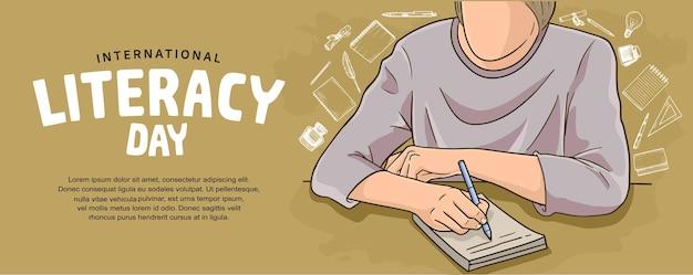 Internationale alfabetiseringsdag met kleurrijke man die illustratie op bruine achtergrond schrijft