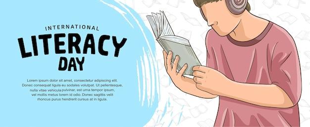 Internationale alfabetiseringsdag met kleurrijke man leesboek blauwe borstel geïsoleerd op witte achtergrond
