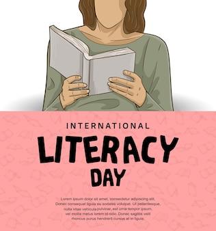Internationale alfabetiseringsdag met kleurrijke man leesboek geïsoleerd op roze en witte achtergrond