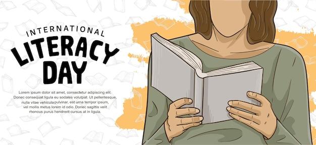 Internationale alfabetiseringsdag met kleurrijke man leest boek oranje penseel en witte achtergrond