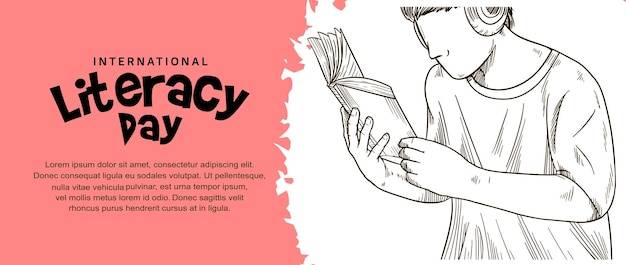 Internationale alfabetiseringsdag met man die boekillustratie leest en roze penseel