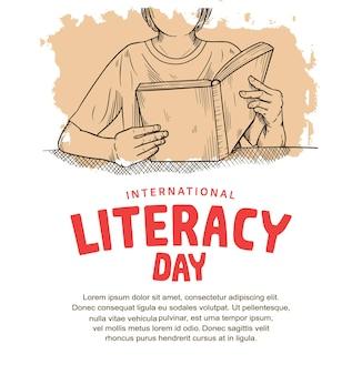 Internationale alfabetiseringsdag met man die boekillustratie leest en zachte bruine borstel die op witte achtergrond wordt geïsoleerd