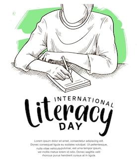 Internationale alfabetiseringsdag met man die illustratie en groene borstel schrijft