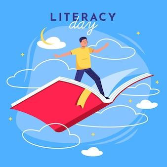 Internationale alfabetiseringsdag met man die op boek vliegt