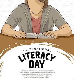 Internationale alfabetiseringsdag met man leesboek, witte borstel en achtergrond voor poster