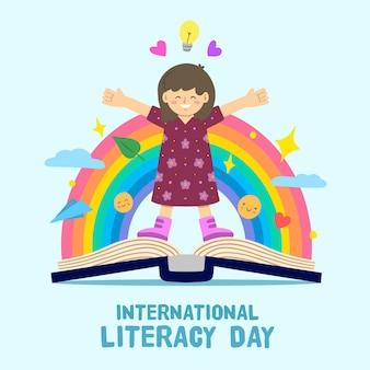 Internationale alfabetiseringsdag met persoon en regenboog