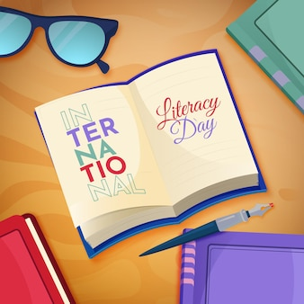 Internationale alfabetiseringsdag met plat ontwerp