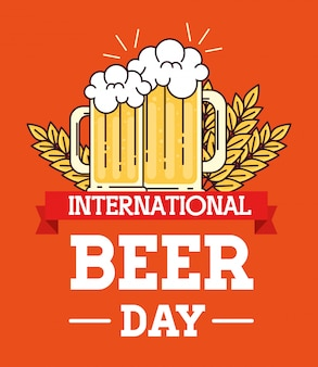 Internationale bierdag, augustus, bekers glas bier en spikes