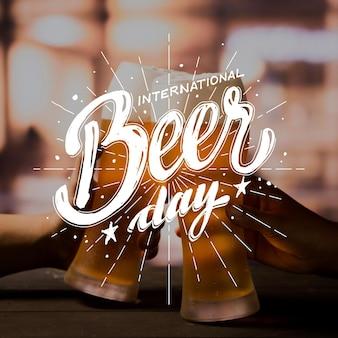 Internationale bierdag belettering met foto