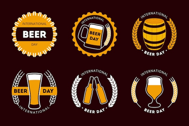Internationale bierdag etiketten plat ontwerp