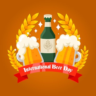 Internationale bierdag in plat design