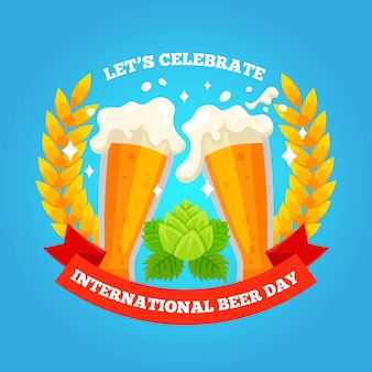Internationale bierdag in plat design