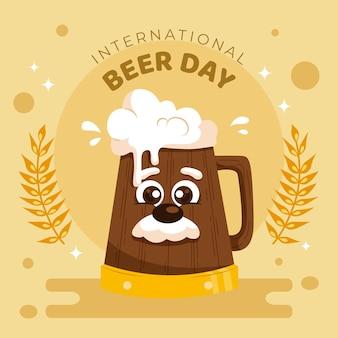 Internationale bierdag met houten pint