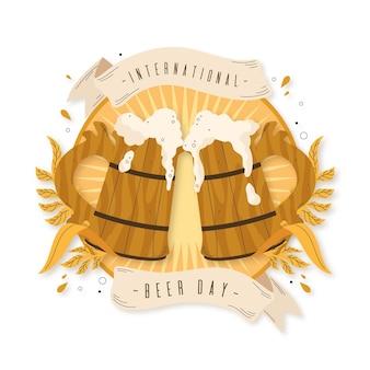 Internationale bierdag met houten pinten