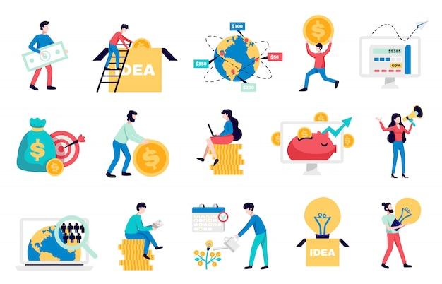 Internationale crowdfunding geld inzamelen internetplatforms voor opstarten van bedrijven non-profit liefdadigheidssymbolen vlakke pictogrammen collectie illustratie
