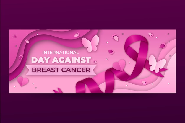 Internationale dag in papieren stijl tegen borstkanker sociale media voorbladsjabloon