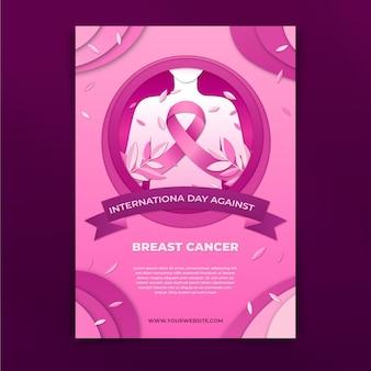 Internationale dag in papieren stijl tegen verticale flyer-sjabloon voor borstkanker