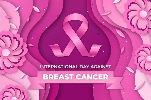 Internationale dag in papierstijl tegen de achtergrond van borstkanker