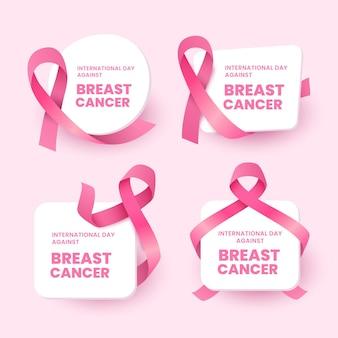 Internationale dag met kleurovergang tegen borstkanker belettering etiketten collectie
