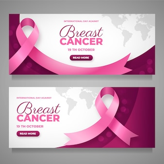 Internationale dag met kleurovergang tegen borstkanker horizontale banners set