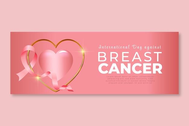 Internationale dag met kleurovergang tegen borstkanker sociale media voorbladsjabloon